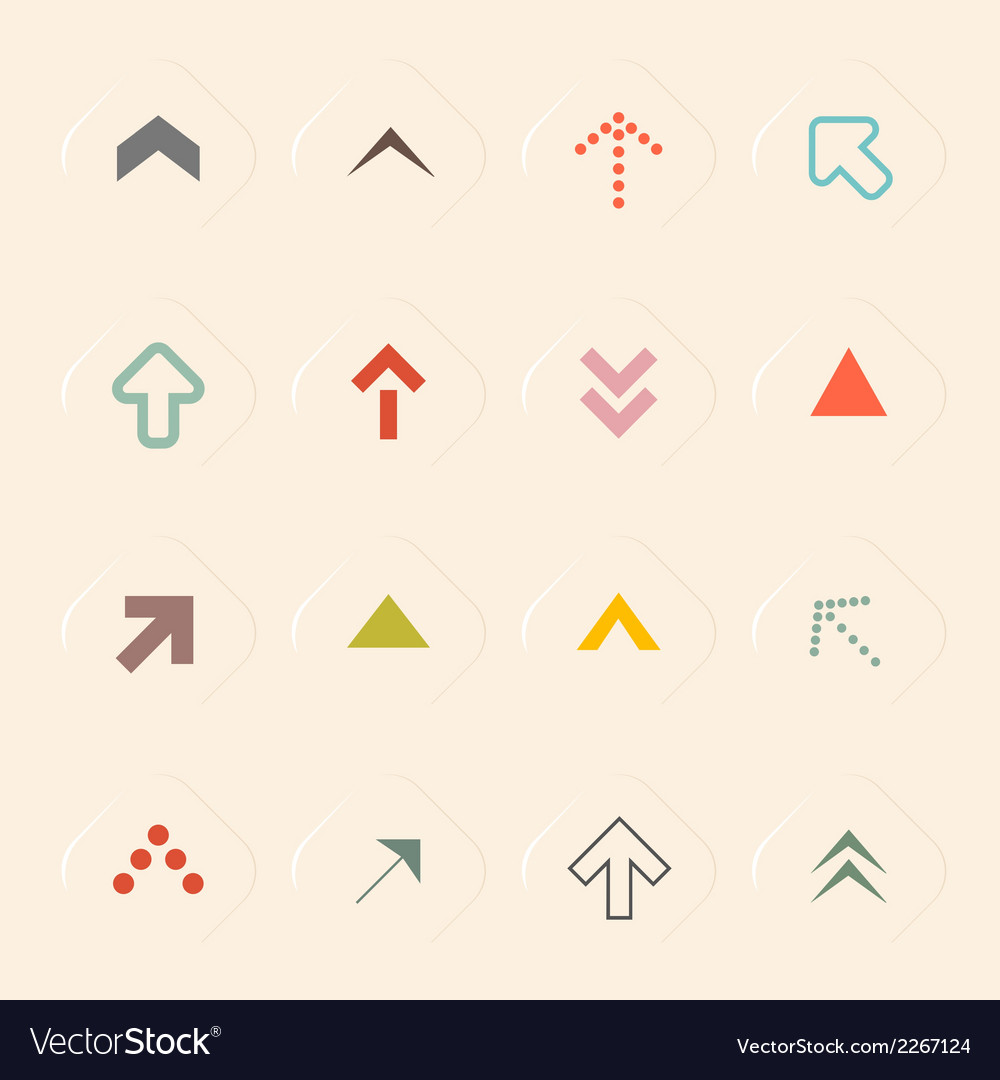 Flat design arrows set on recycled paper bac vector | Price: 1 Credit (USD $1)