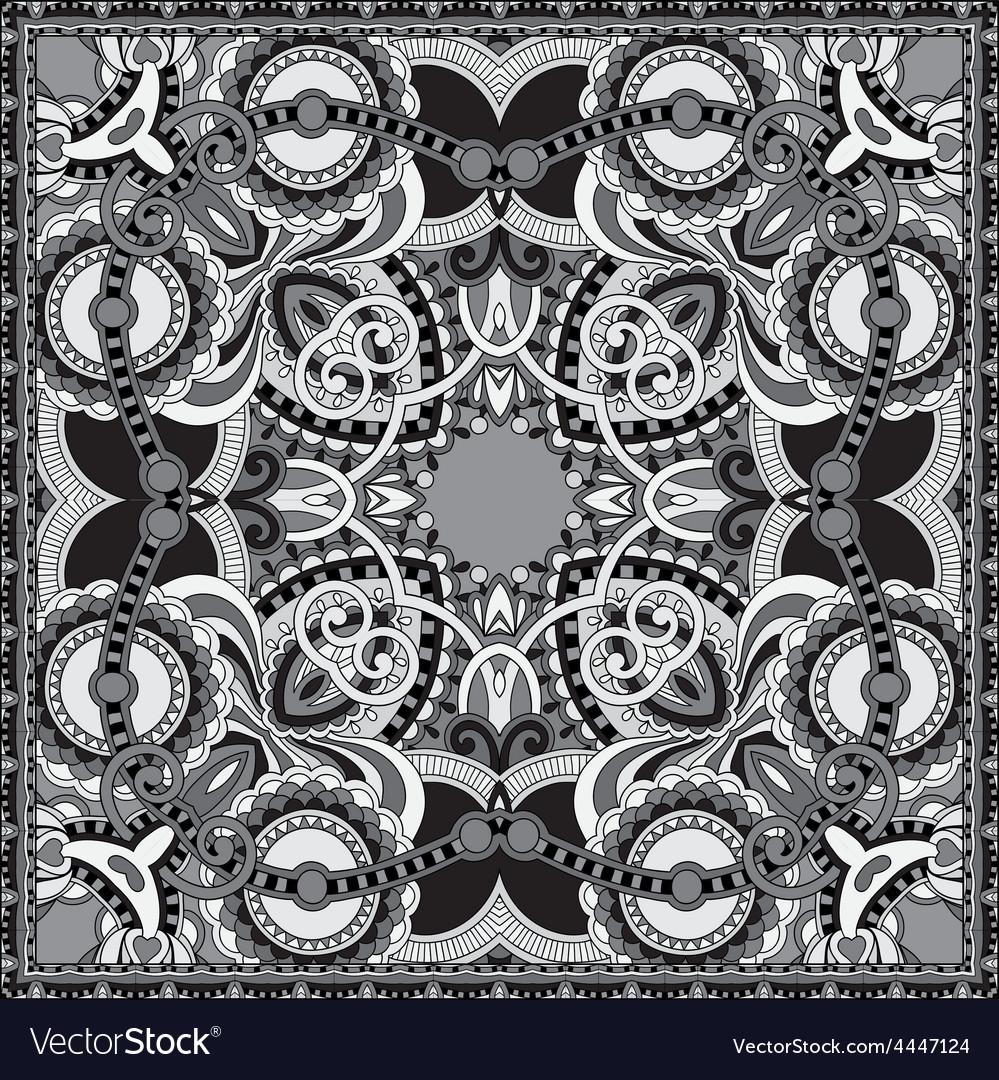 Grey ornamental floral paisley bandanna vector | Price: 1 Credit (USD $1)