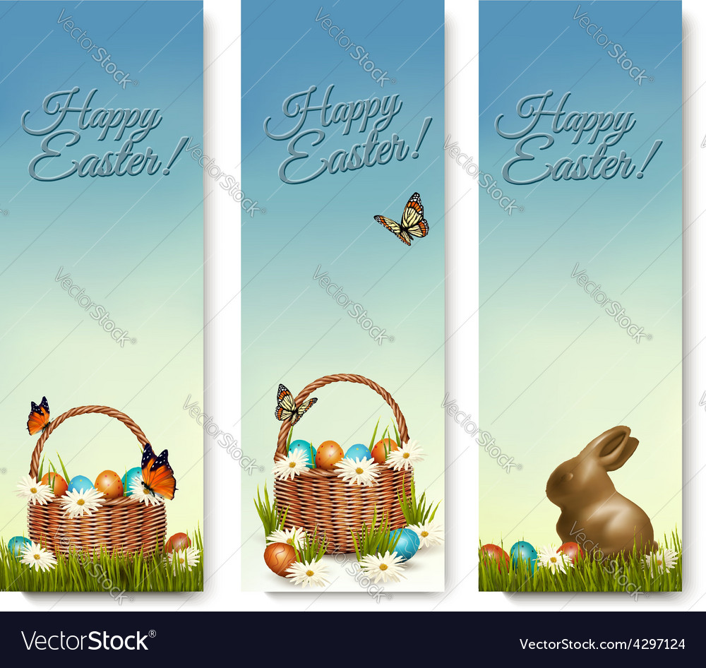 Three banners with easter backgrounds eggs in vector | Price: 3 Credit (USD $3)