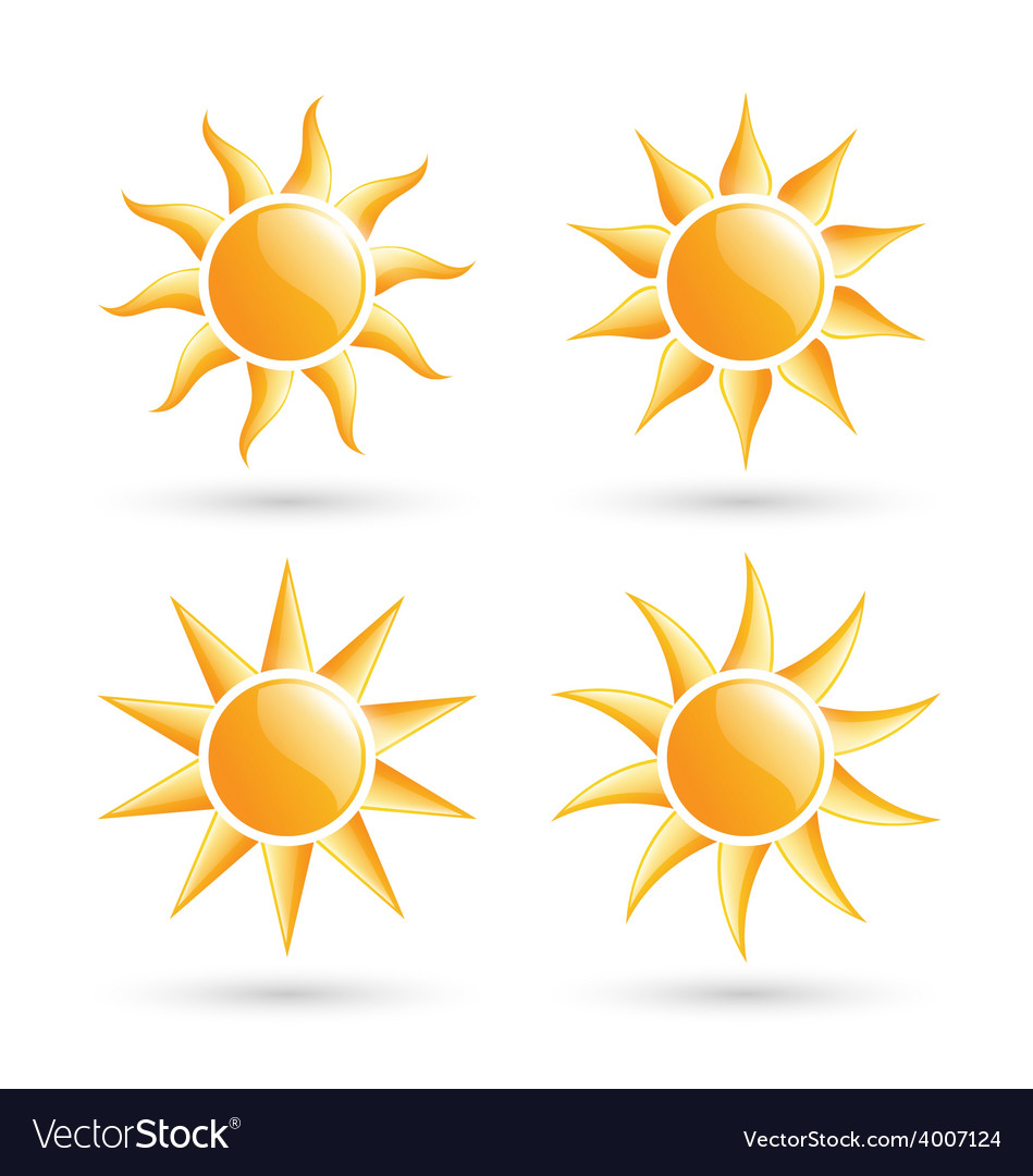 Three suns icons with shadow isolated on white vector | Price: 1 Credit (USD $1)