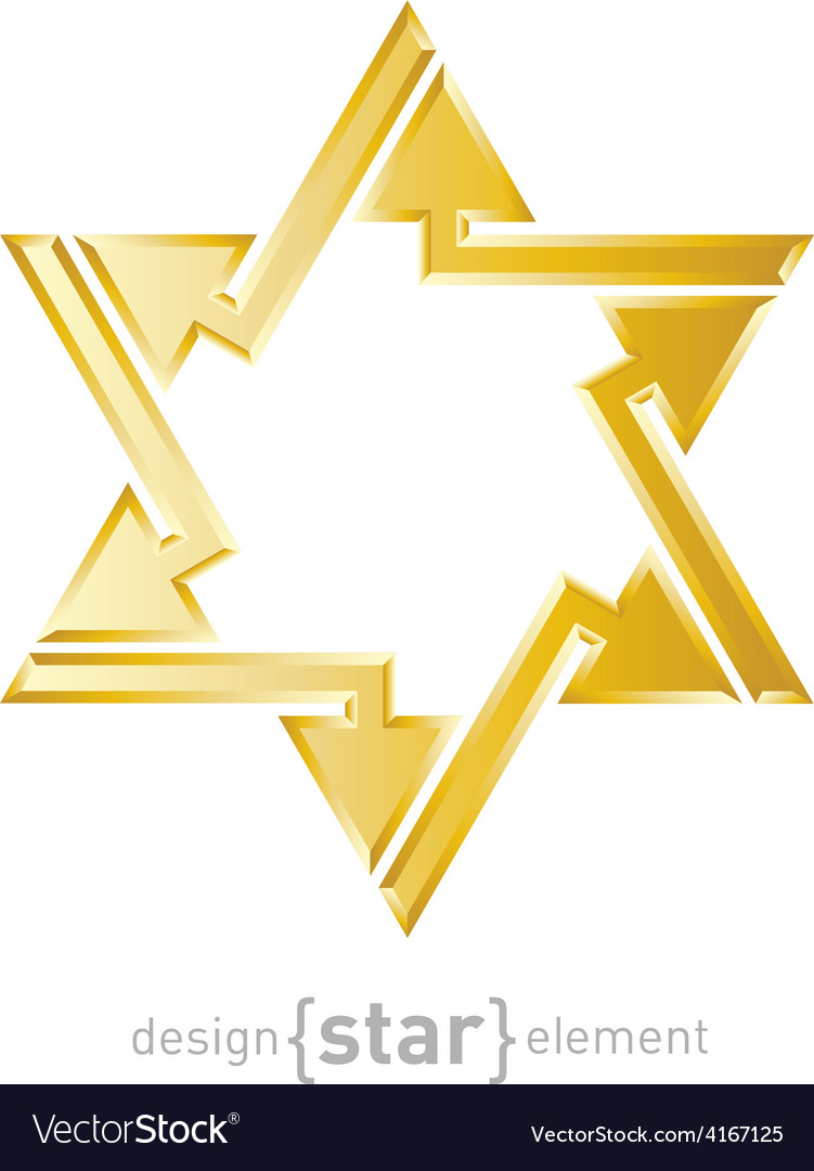 Abstract design element golden star of david with vector | Price: 1 Credit (USD $1)