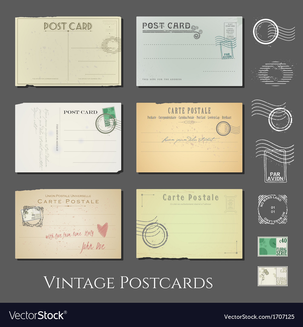 Antique postcards collection vol 2 vector | Price: 1 Credit (USD $1)