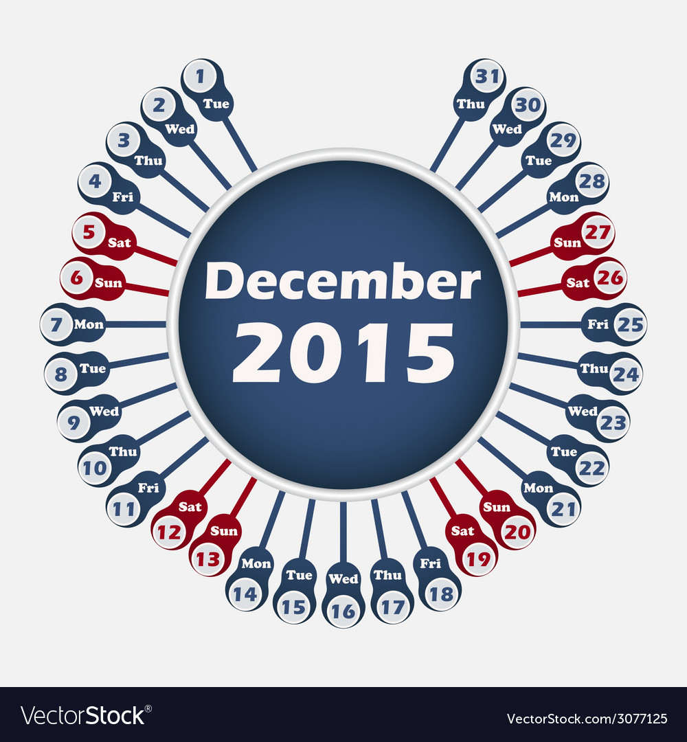 Calendar 2015 december template vector | Price: 1 Credit (USD $1)