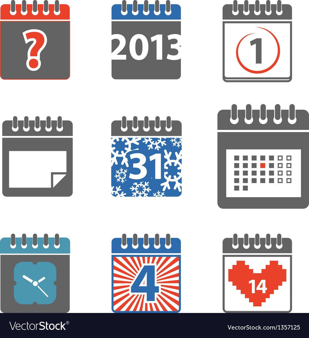 Calendar web icons collection vector | Price: 1 Credit (USD $1)