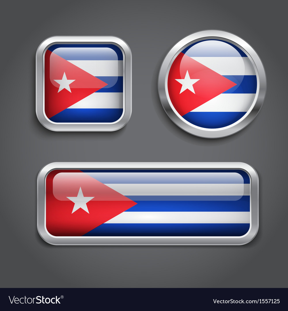 Cuba flag glass buttons vector | Price: 1 Credit (USD $1)
