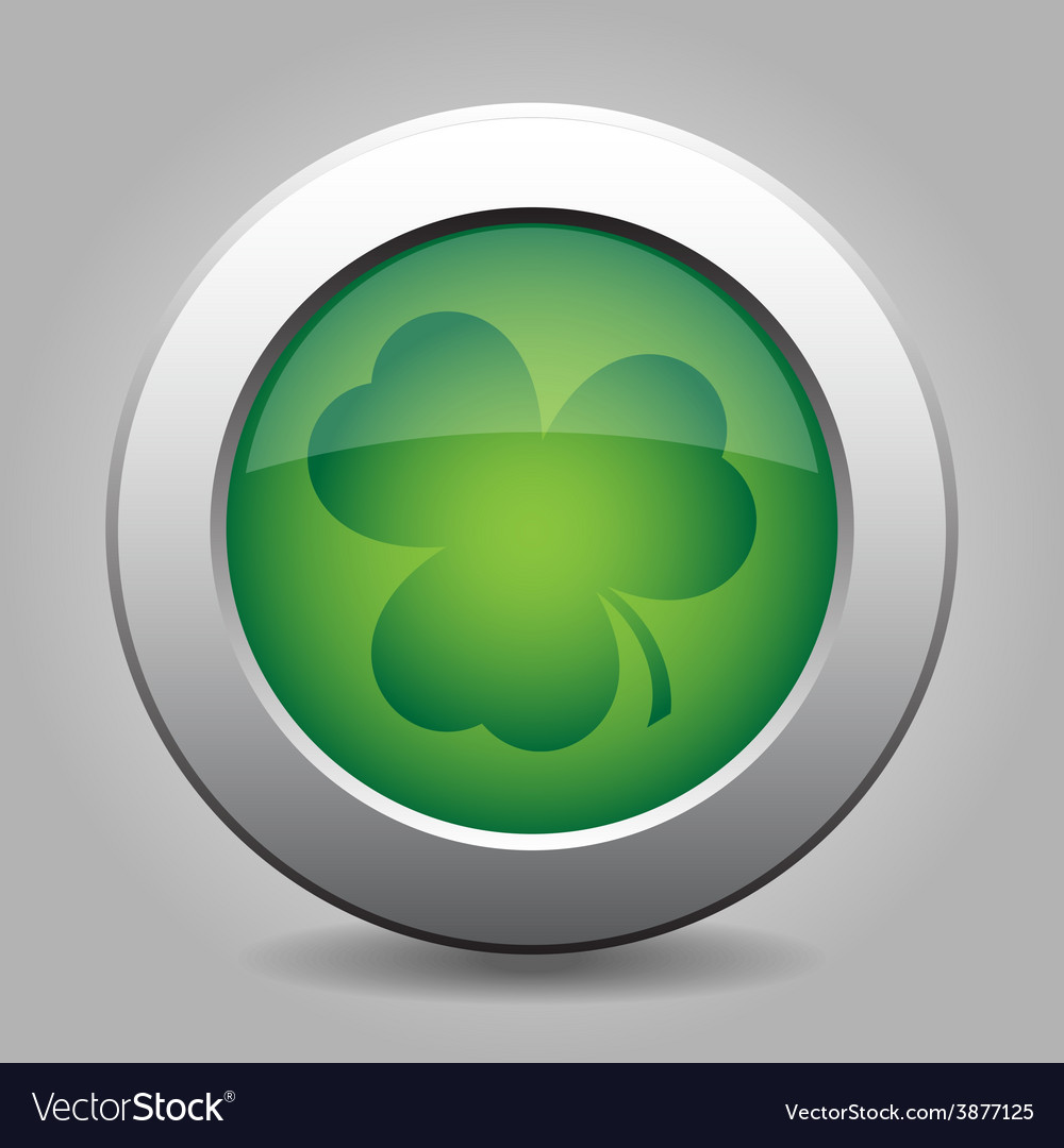 Metal button with the dark green shamrock vector | Price: 1 Credit (USD $1)