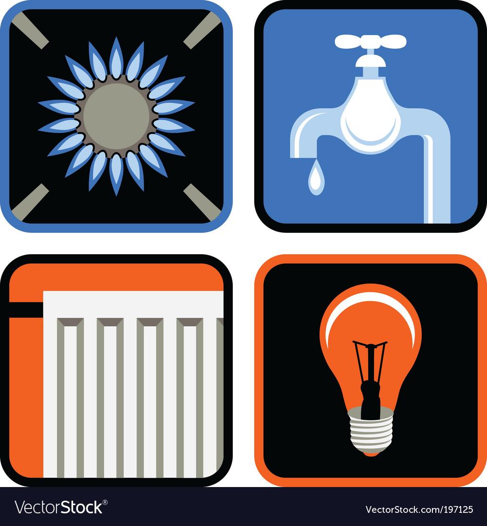 Public utilities icon set vector | Price: 1 Credit (USD $1)