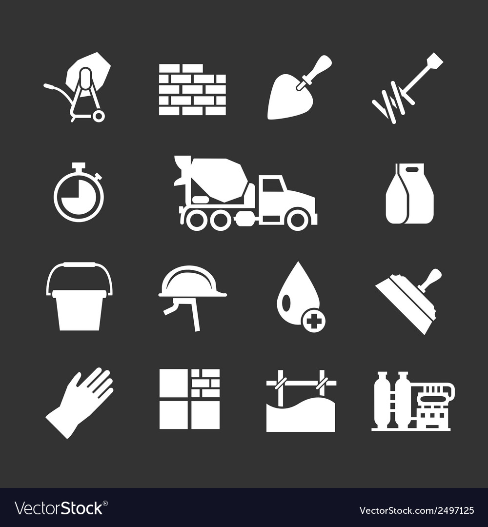 Set icons of cement and concrete vector   Price: 1 Credit (USD $1)