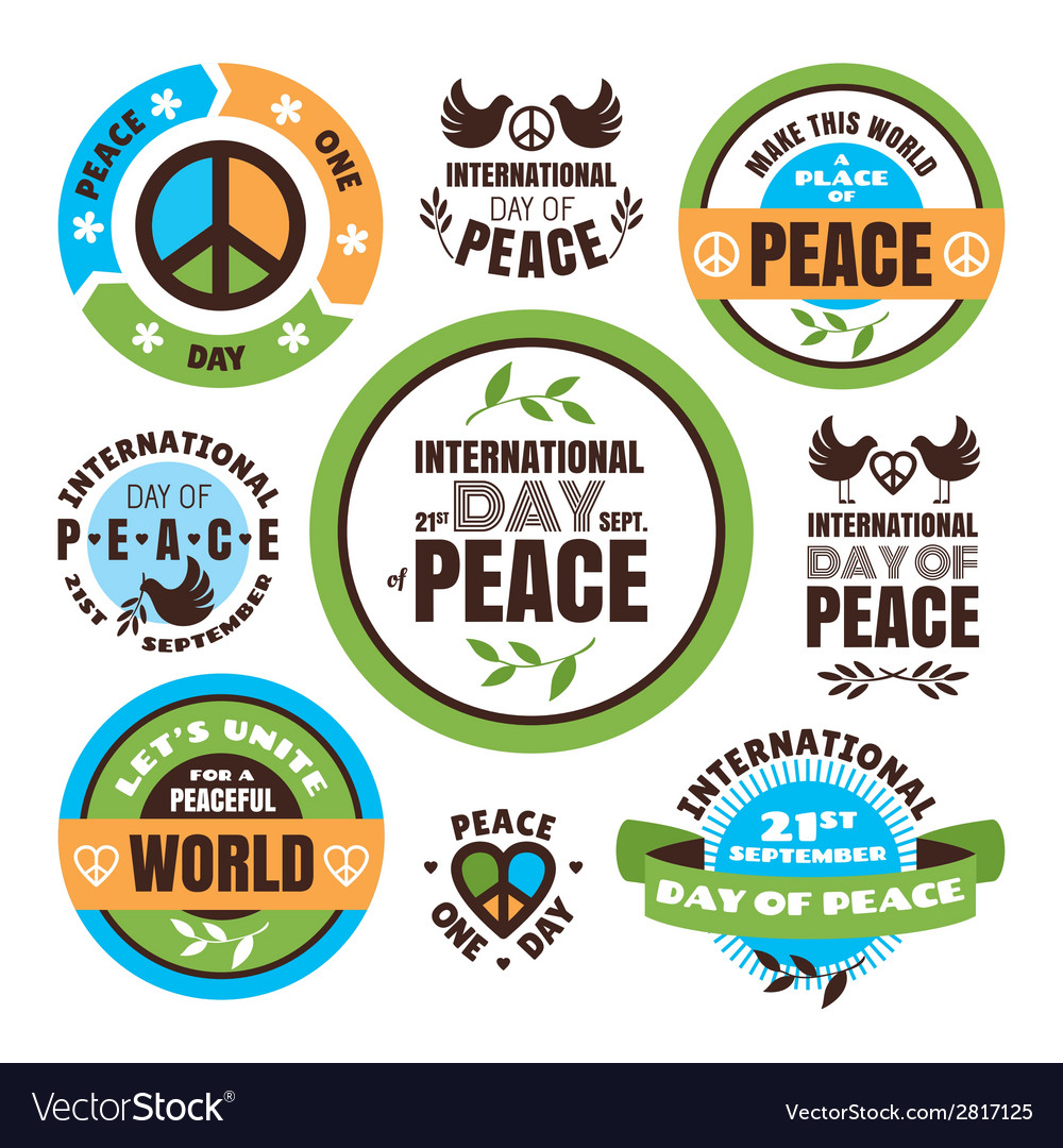 Set of labels for the international day of peace vector | Price: 1 Credit (USD $1)
