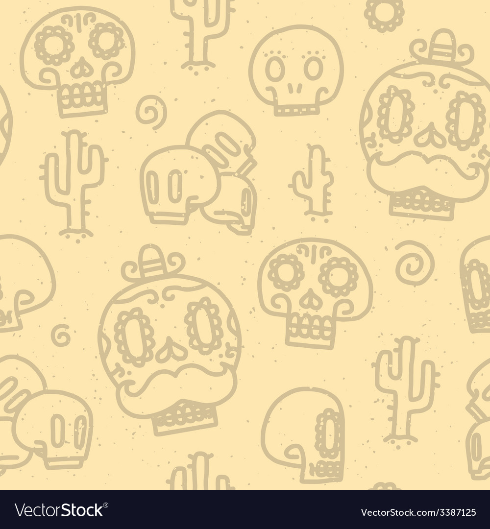 Sugar skulls seamless pattern vector | Price: 1 Credit (USD $1)