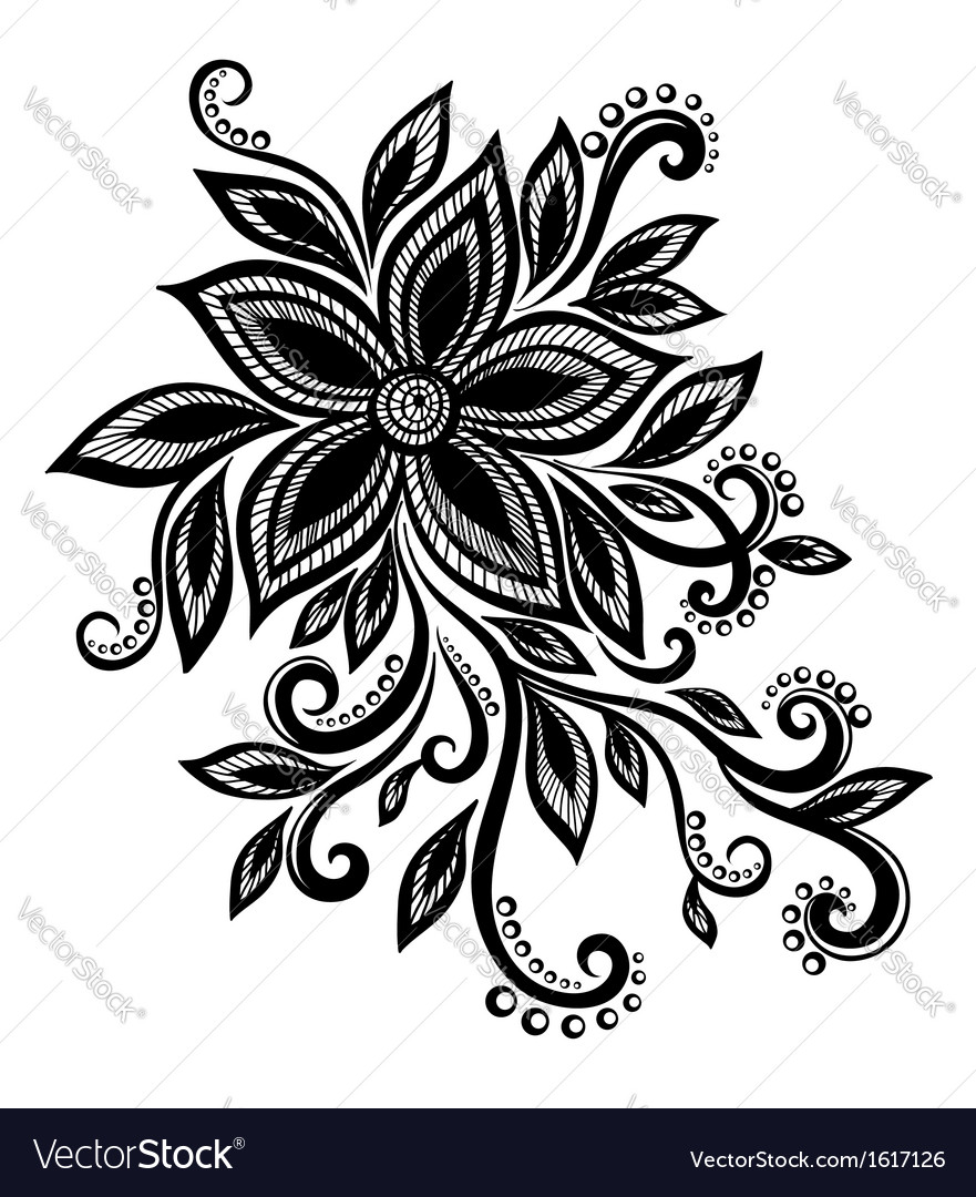 Black white flower lace eyelets design element vector | Price: 1 Credit (USD $1)