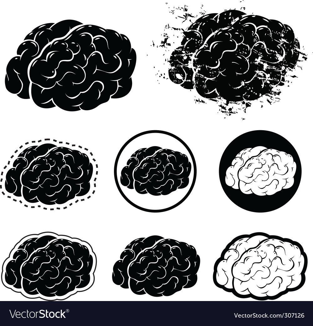 Brain silhouette vector | Price: 1 Credit (USD $1)