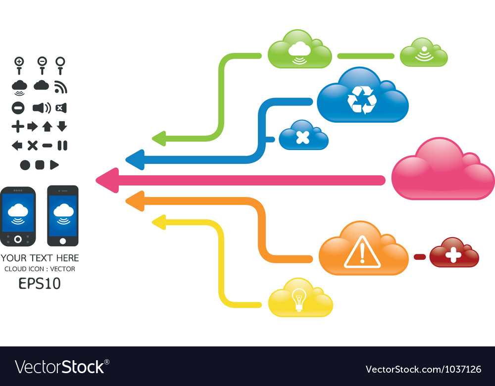 Cloud color arrow graph with mobile vector | Price: 1 Credit (USD $1)