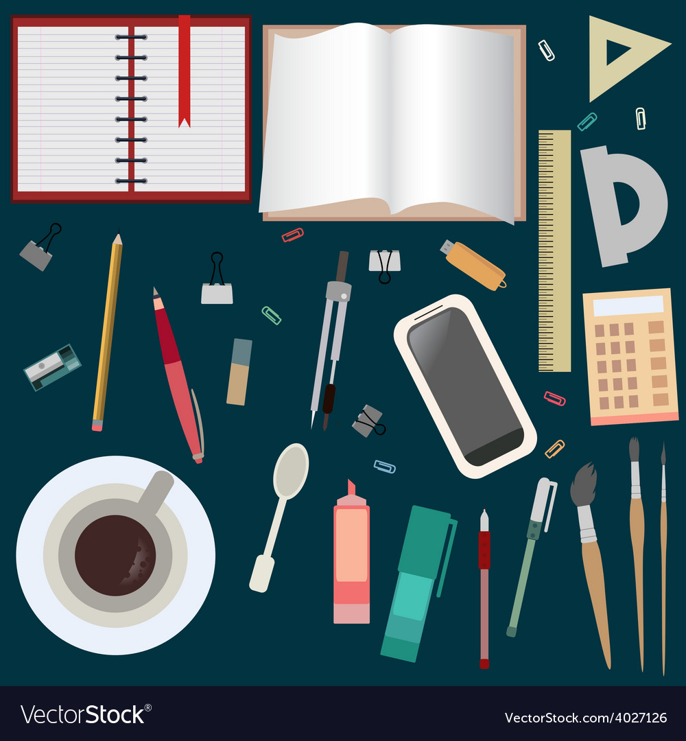 Desktop creative mess view from above flat set vector | Price: 1 Credit (USD $1)