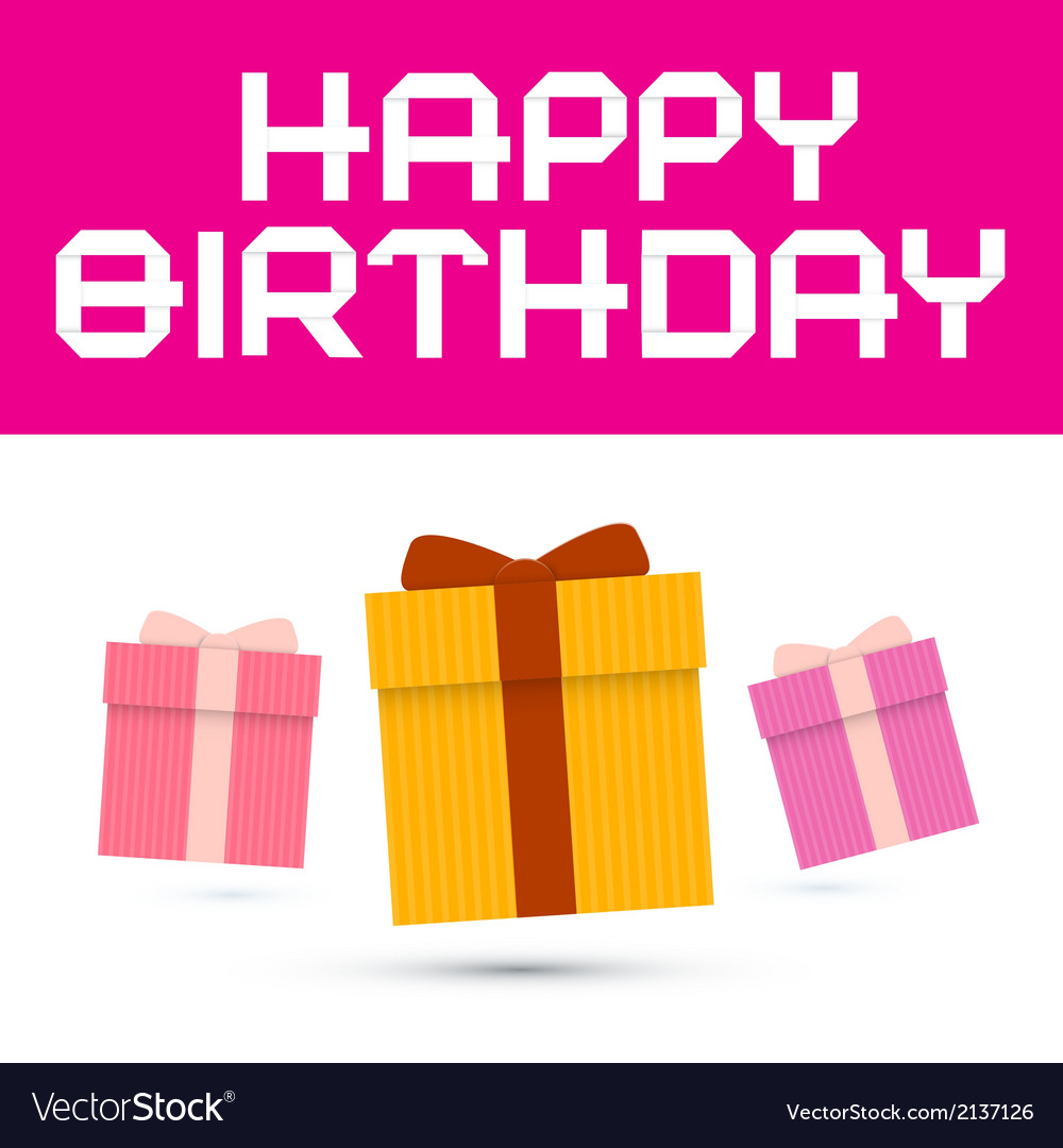 Happy birthday with paper gift boxes vector | Price: 1 Credit (USD $1)