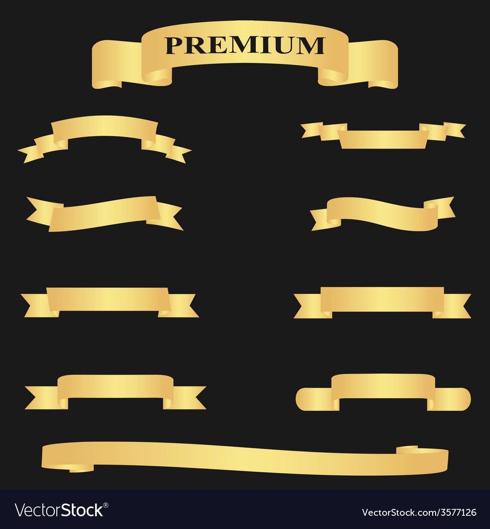 Realistic golden glossy web ribbon vector | Price: 1 Credit (USD $1)