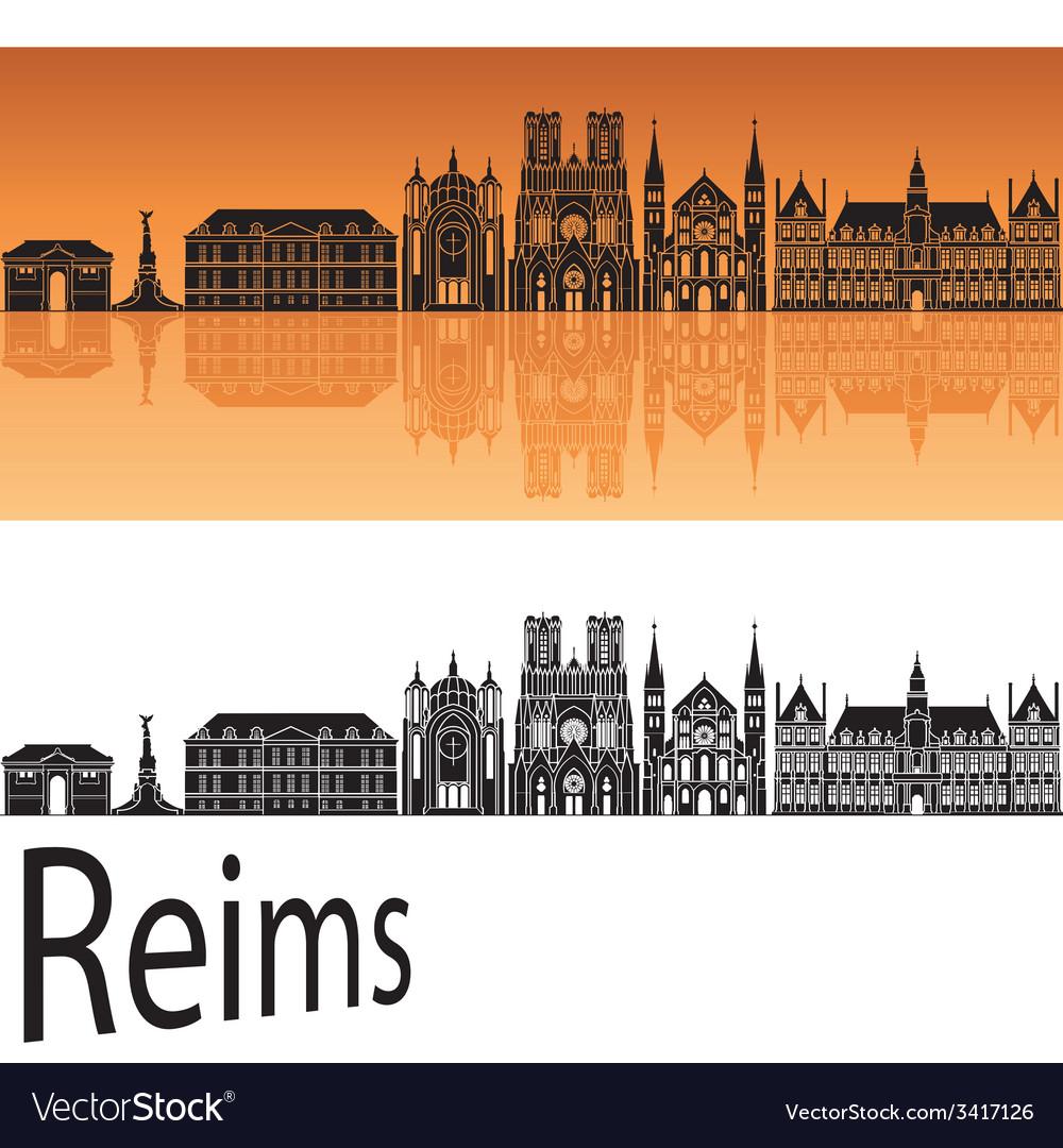 Reims skyline in orange background vector | Price: 1 Credit (USD $1)