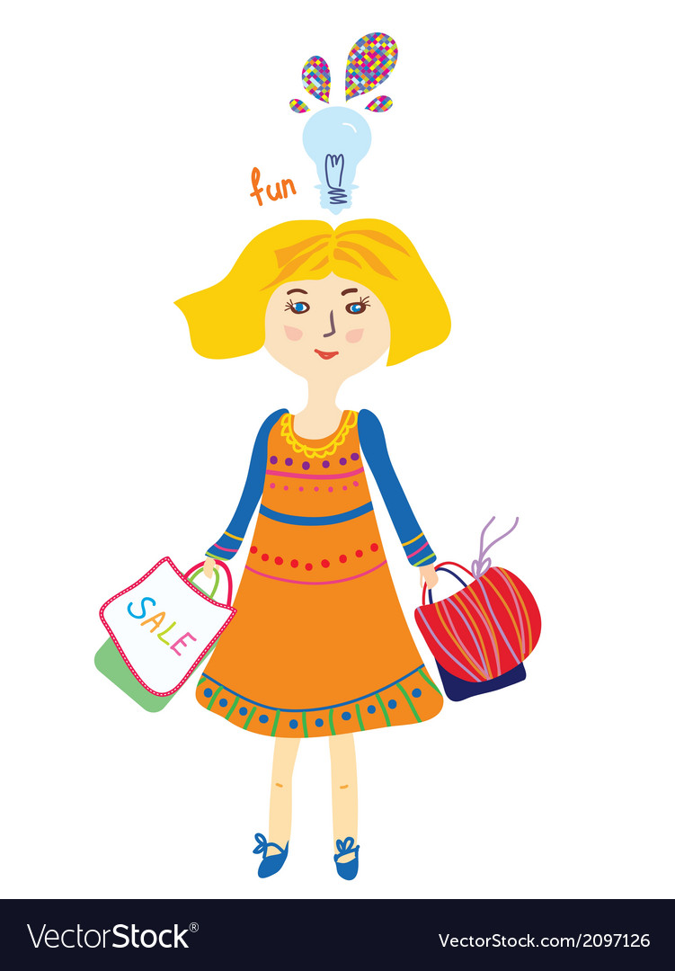 Shopping girl with bags and lightbulb fun vector | Price: 1 Credit (USD $1)