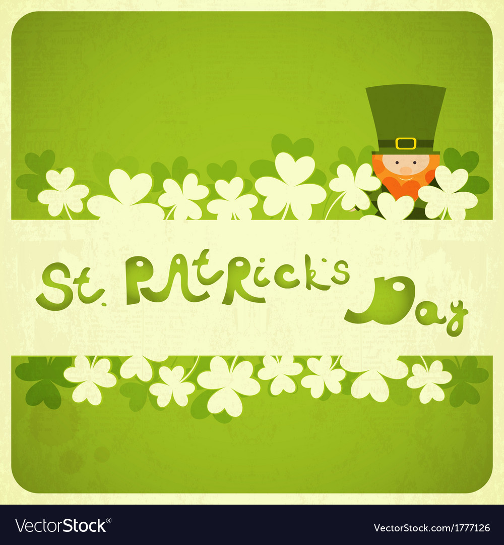 St patricks day card with shamrock and leprechaun vector | Price: 1 Credit (USD $1)