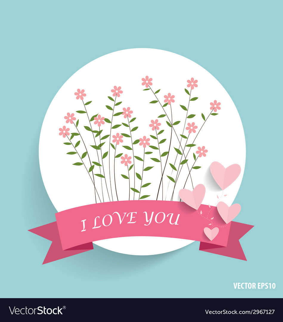 Cute note paper with ribbon heart and floral vector | Price: 1 Credit (USD $1)