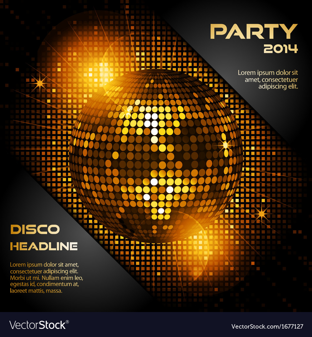Disco ball in glowing gold with sample text vector | Price: 1 Credit (USD $1)