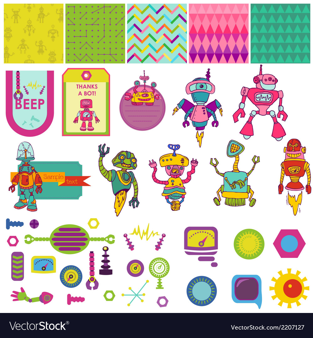 Funny robots theme - scrapbook design elements vector | Price: 1 Credit (USD $1)