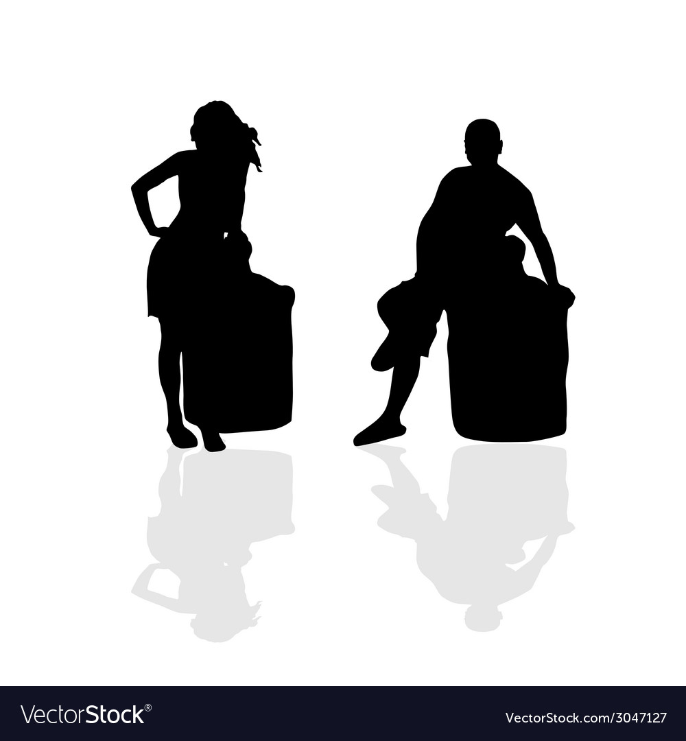 Girl and man silhouette part two vector | Price: 1 Credit (USD $1)
