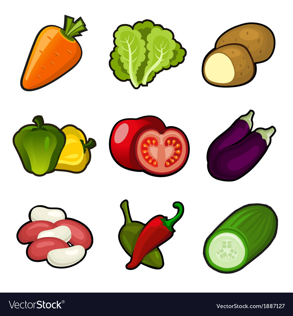 Glossy vegetable set vector | Price: 1 Credit (USD $1)