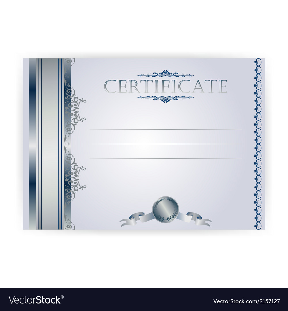 Horizontal silver certificate with a laurel wreath vector | Price: 1 Credit (USD $1)