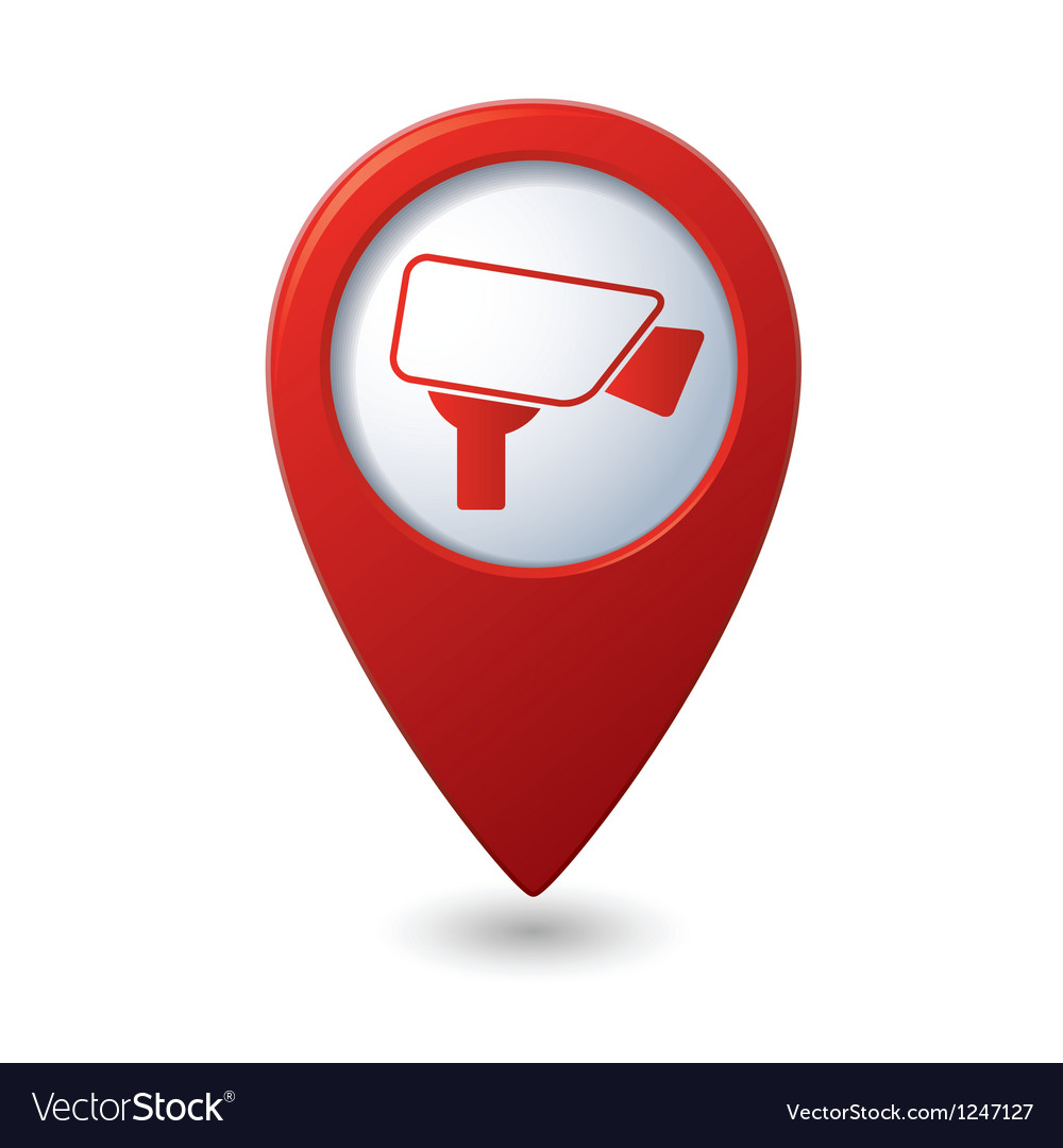 Map pointer with surveillance camera icon vector | Price: 1 Credit (USD $1)