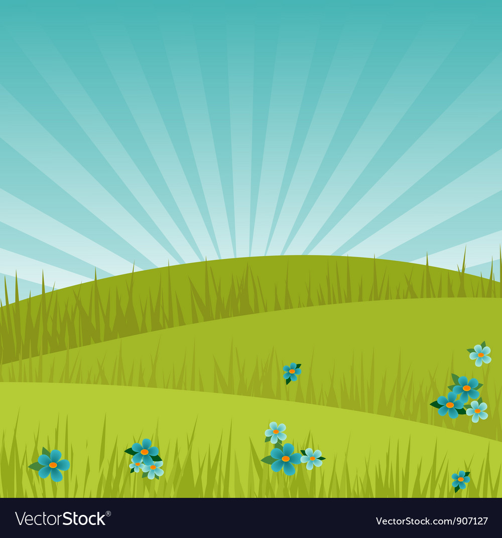 Meadow background at sunrise vector | Price: 1 Credit (USD $1)