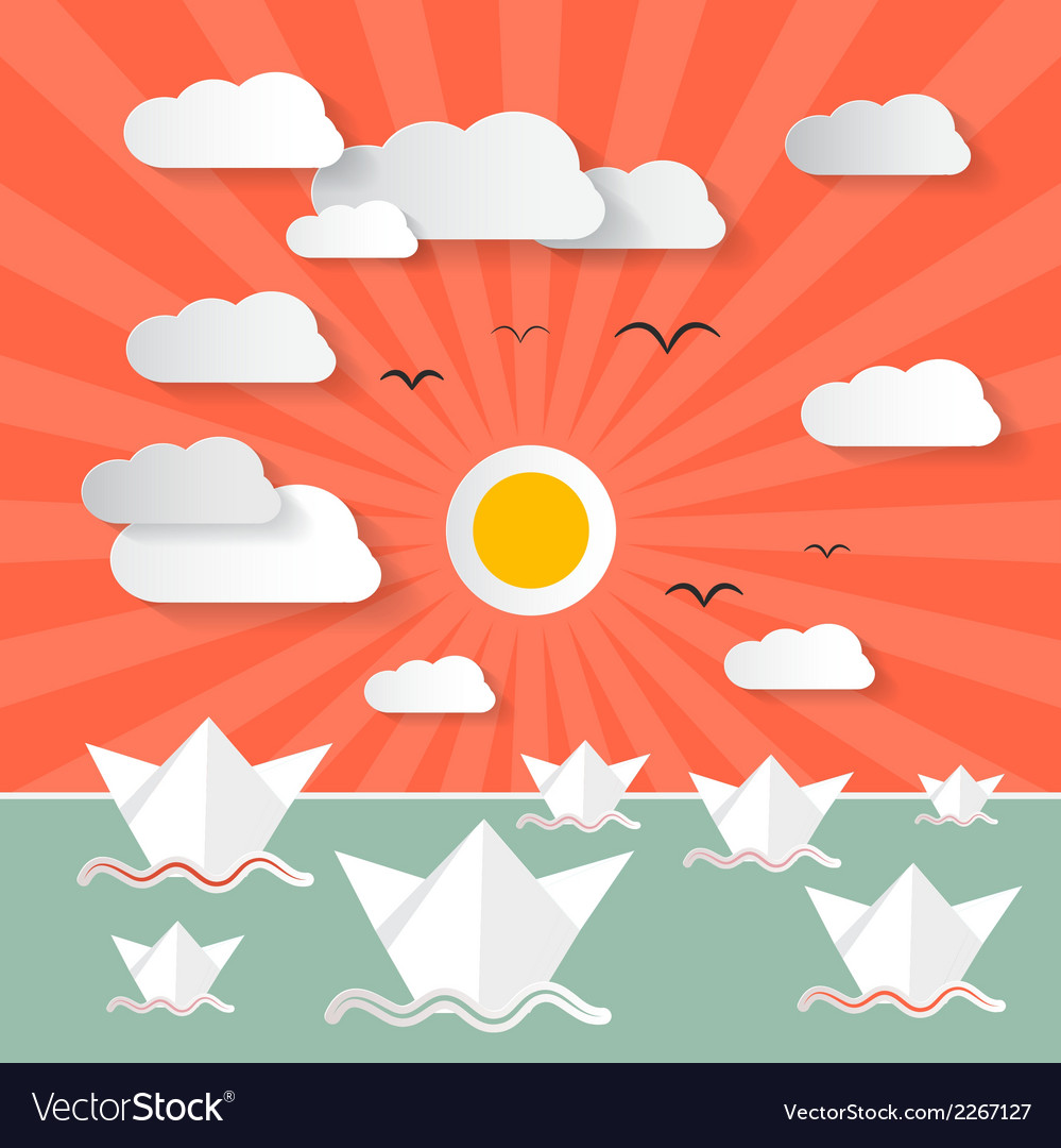 Paper ocean with boats - nature vector | Price: 1 Credit (USD $1)