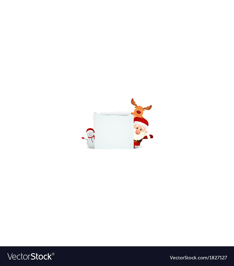 Santa claus with reindeer and snowman vector | Price: 1 Credit (USD $1)