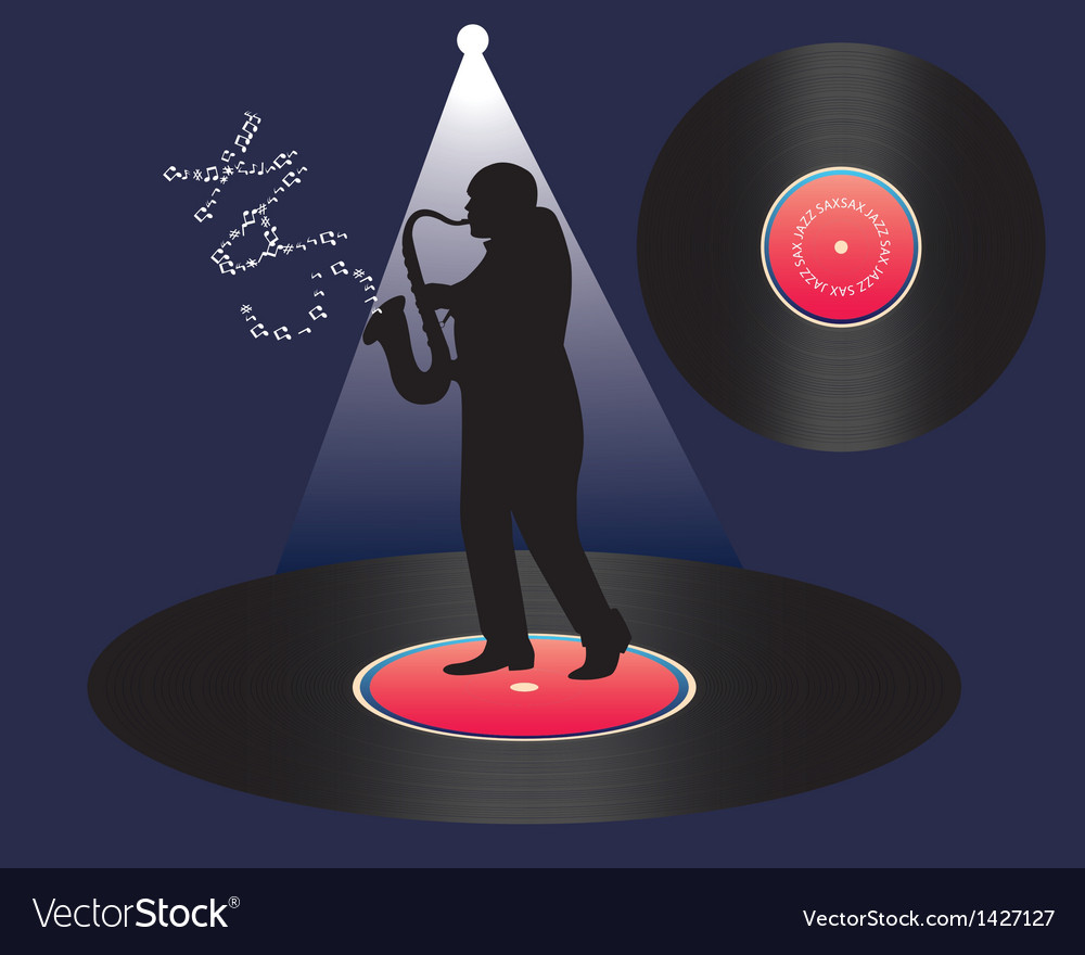 Saxophonist and vinyl vector | Price: 1 Credit (USD $1)