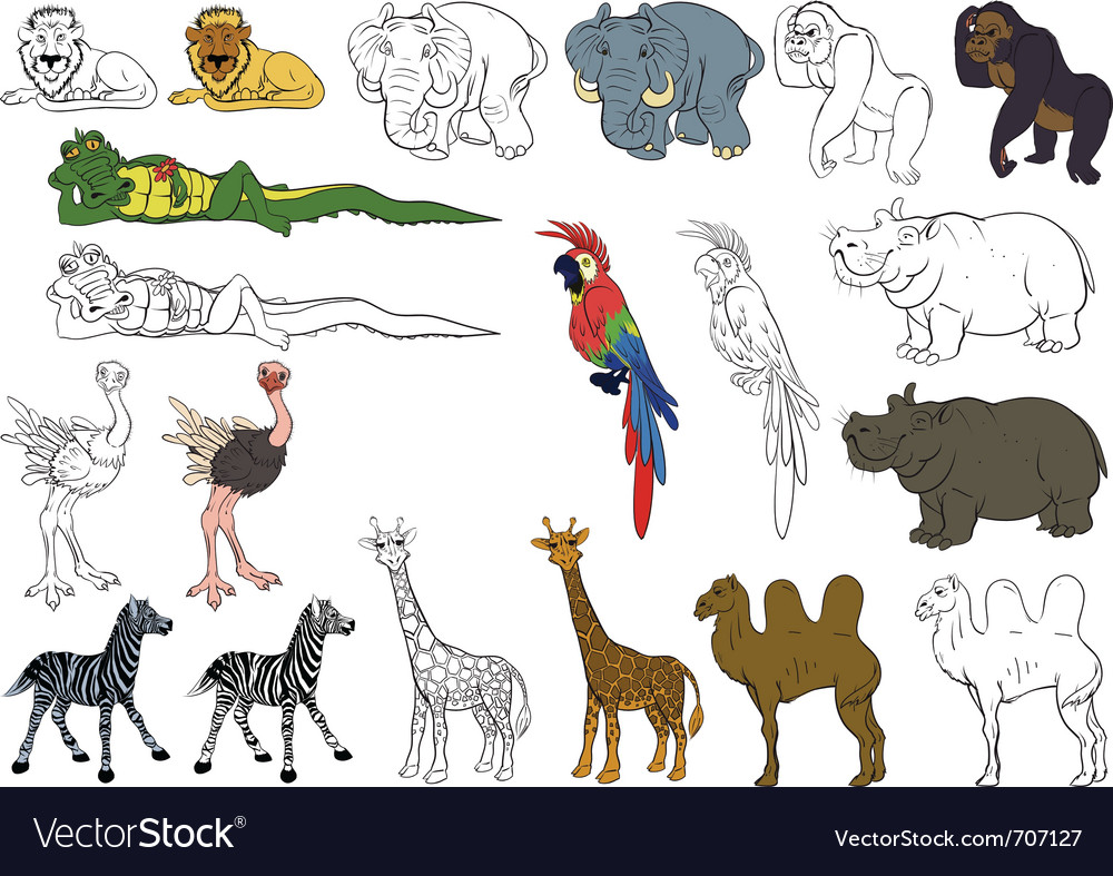 Set of african animals vector | Price: 3 Credit (USD $3)
