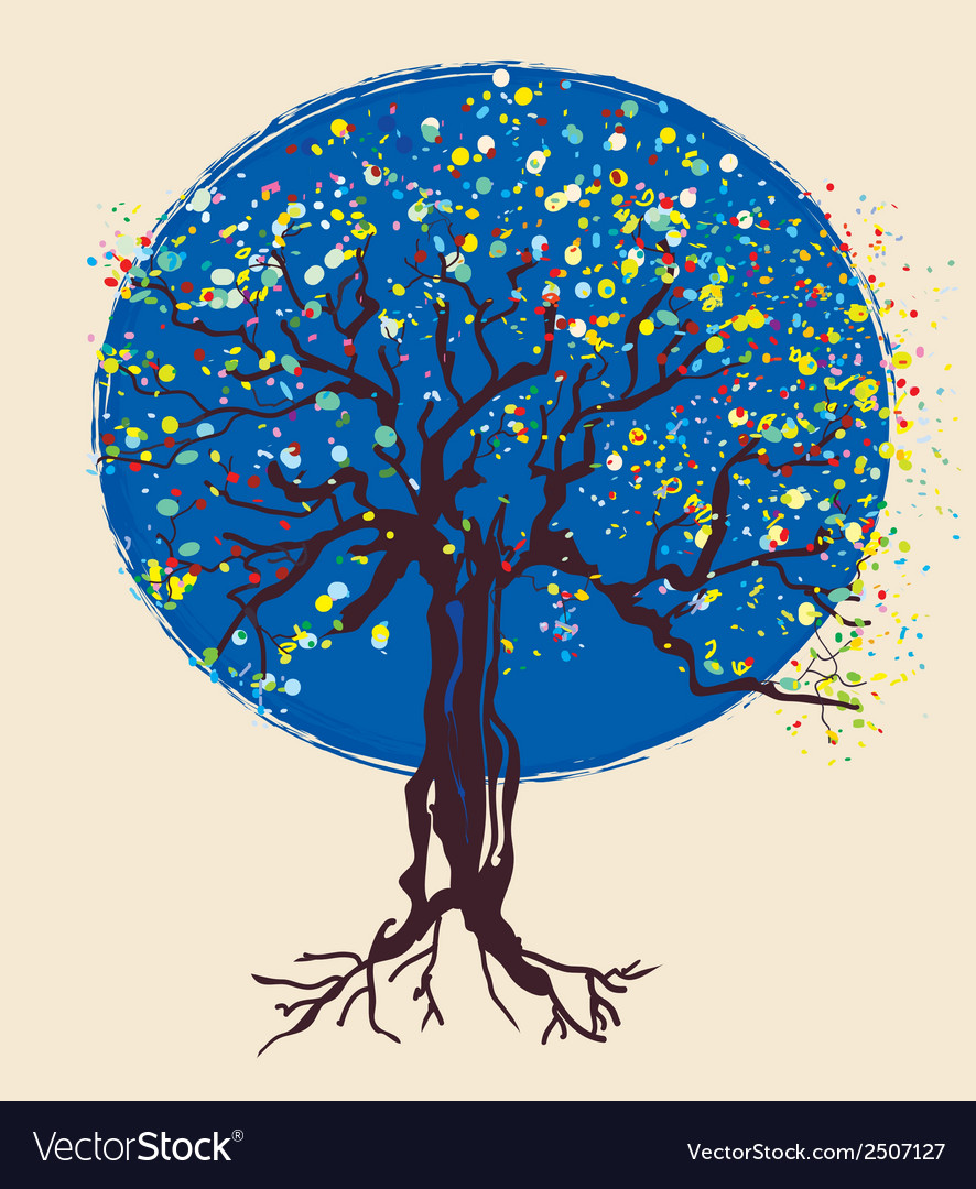 Tree decorative design at night vector | Price: 1 Credit (USD $1)
