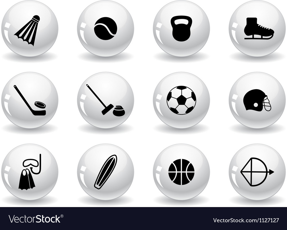 Web buttons sport equipment icons vector | Price: 1 Credit (USD $1)