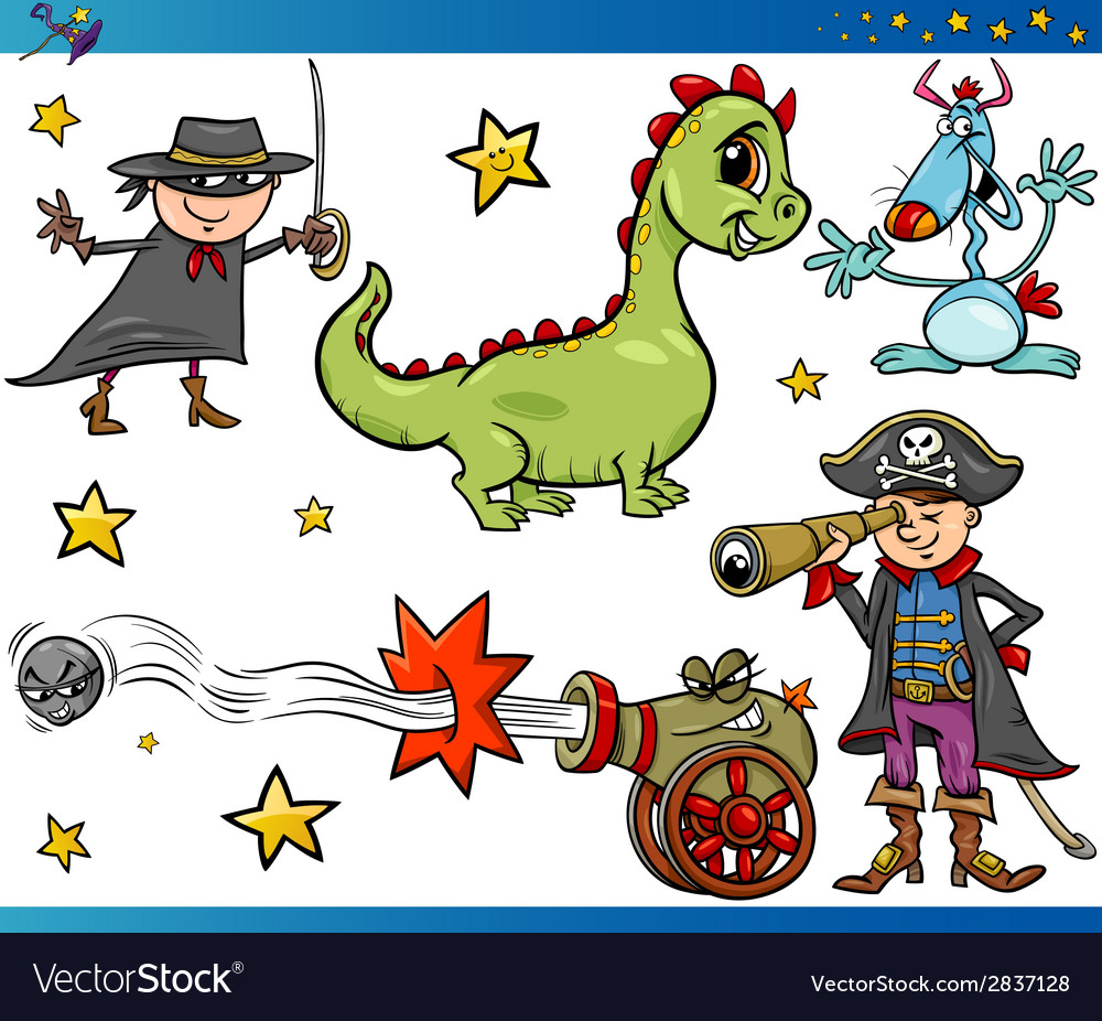 Cartoon fantasy characters set vector | Price: 1 Credit (USD $1)
