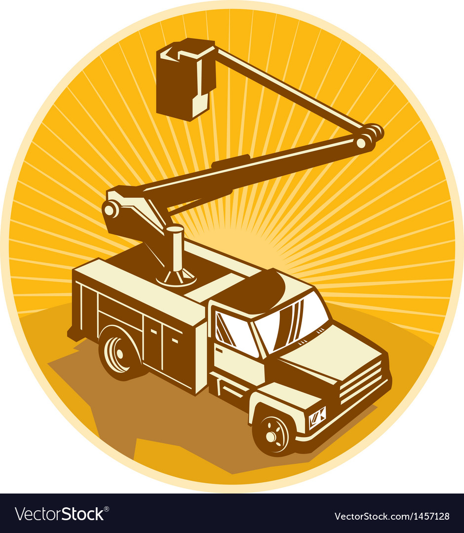 Cherry picker bucket truck access equipment retro vector | Price: 1 Credit (USD $1)