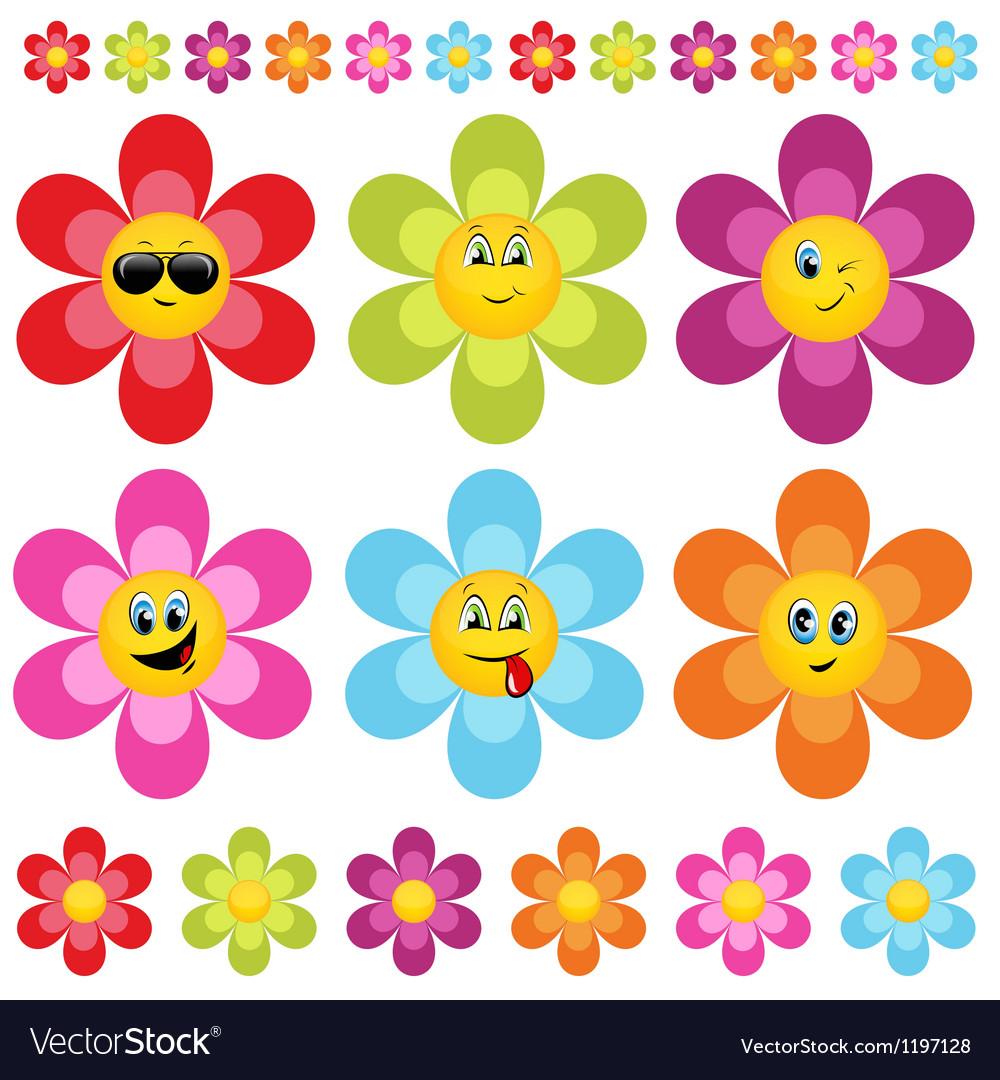 Flower smileys vector | Price: 1 Credit (USD $1)