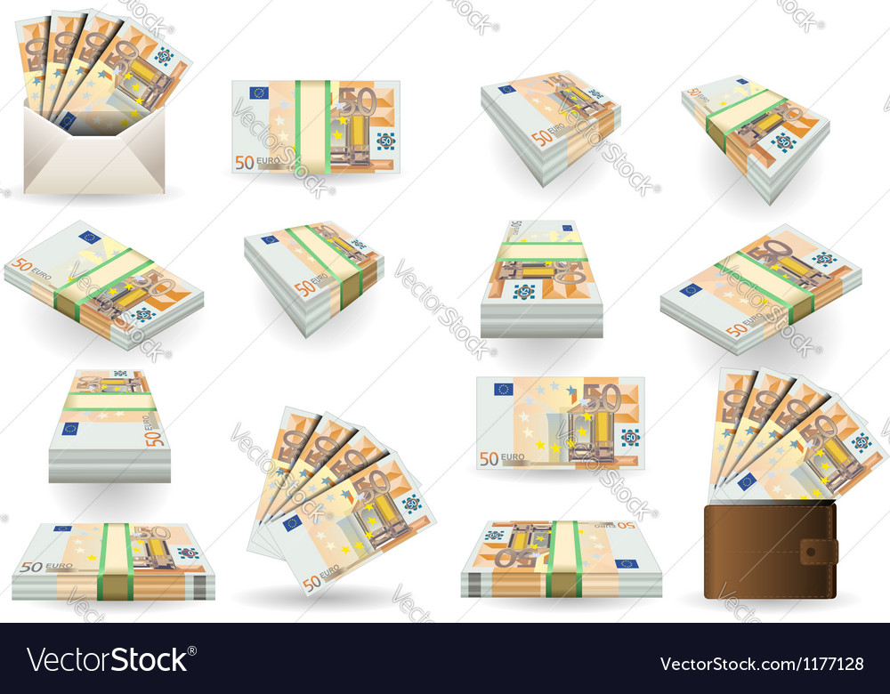 Full set of fifty euros banknotes vector | Price: 3 Credit (USD $3)