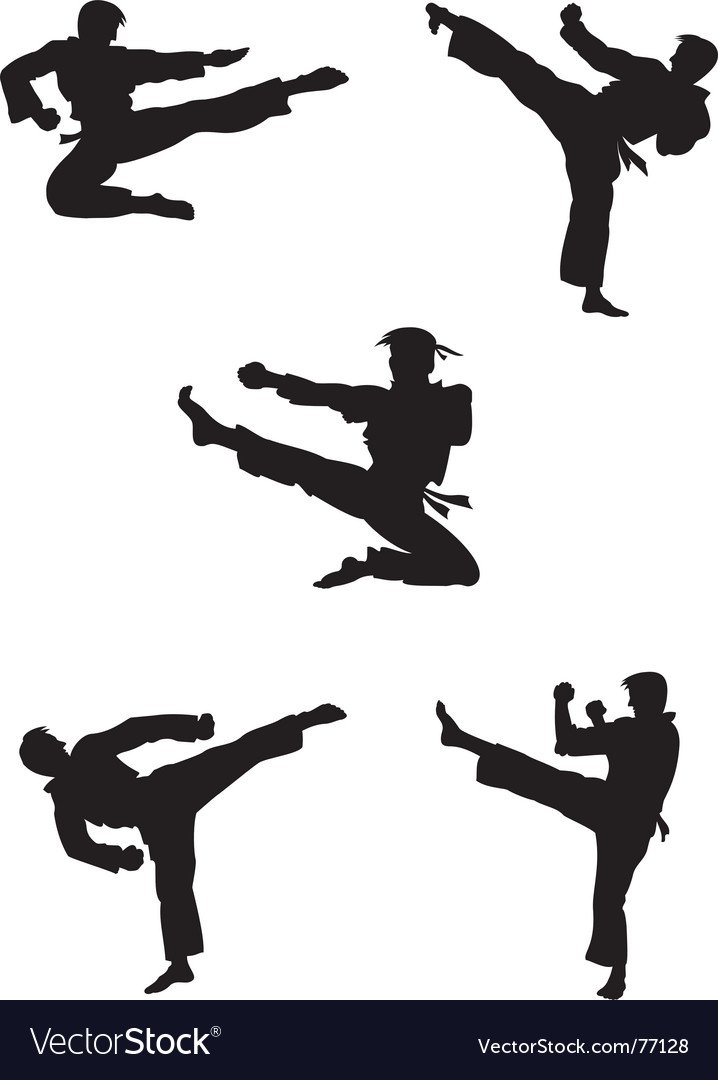 Karate fighters silhouettes vector | Price: 1 Credit (USD $1)