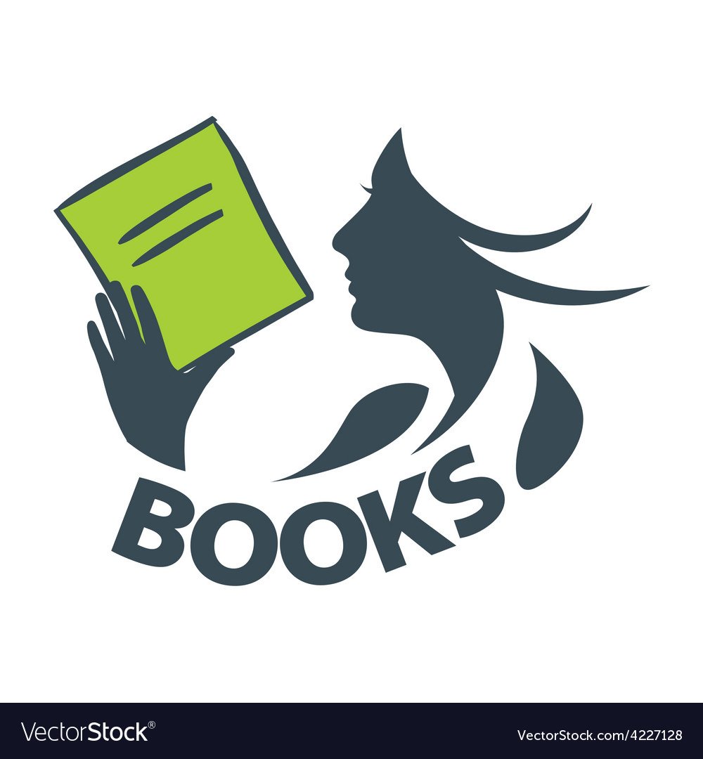 Logo girl reading a book vector | Price: 1 Credit (USD $1)