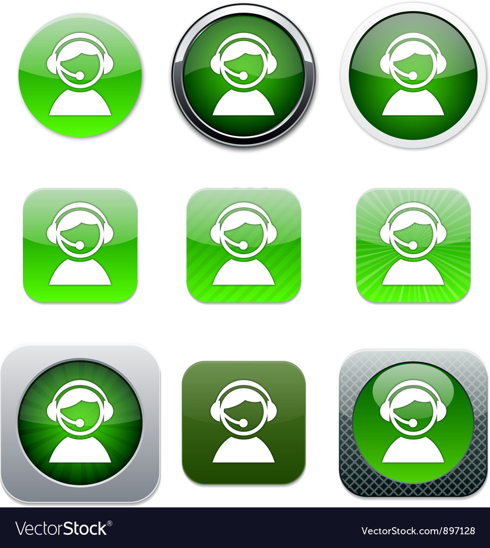 Operator green app icons vector | Price: 1 Credit (USD $1)