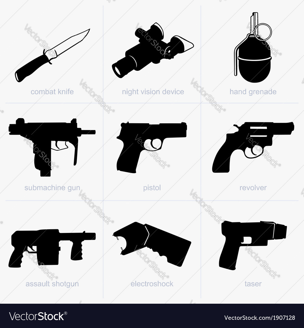 Set of hand weapons vector | Price: 1 Credit (USD $1)