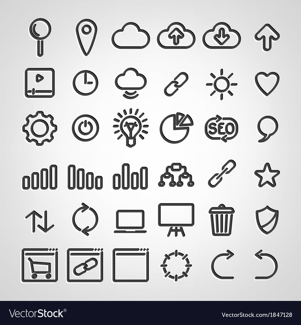 Set of seo icons vector | Price: 1 Credit (USD $1)