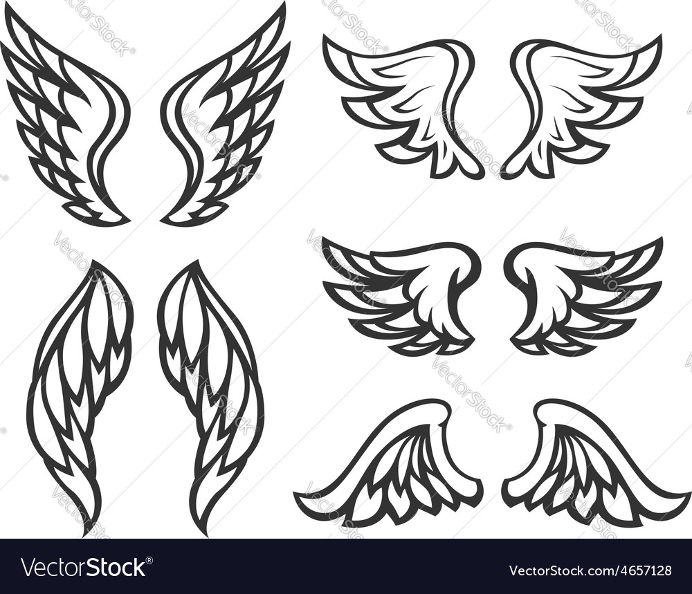 Set of wings tattoo vector | Price: 1 Credit (USD $1)