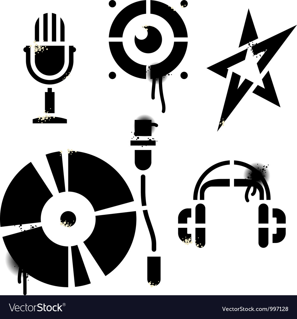 Stencil music icons vector | Price: 1 Credit (USD $1)