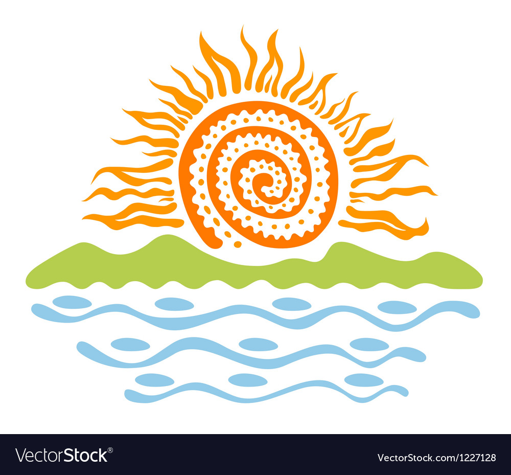 Sun in the landscape vector | Price: 1 Credit (USD $1)