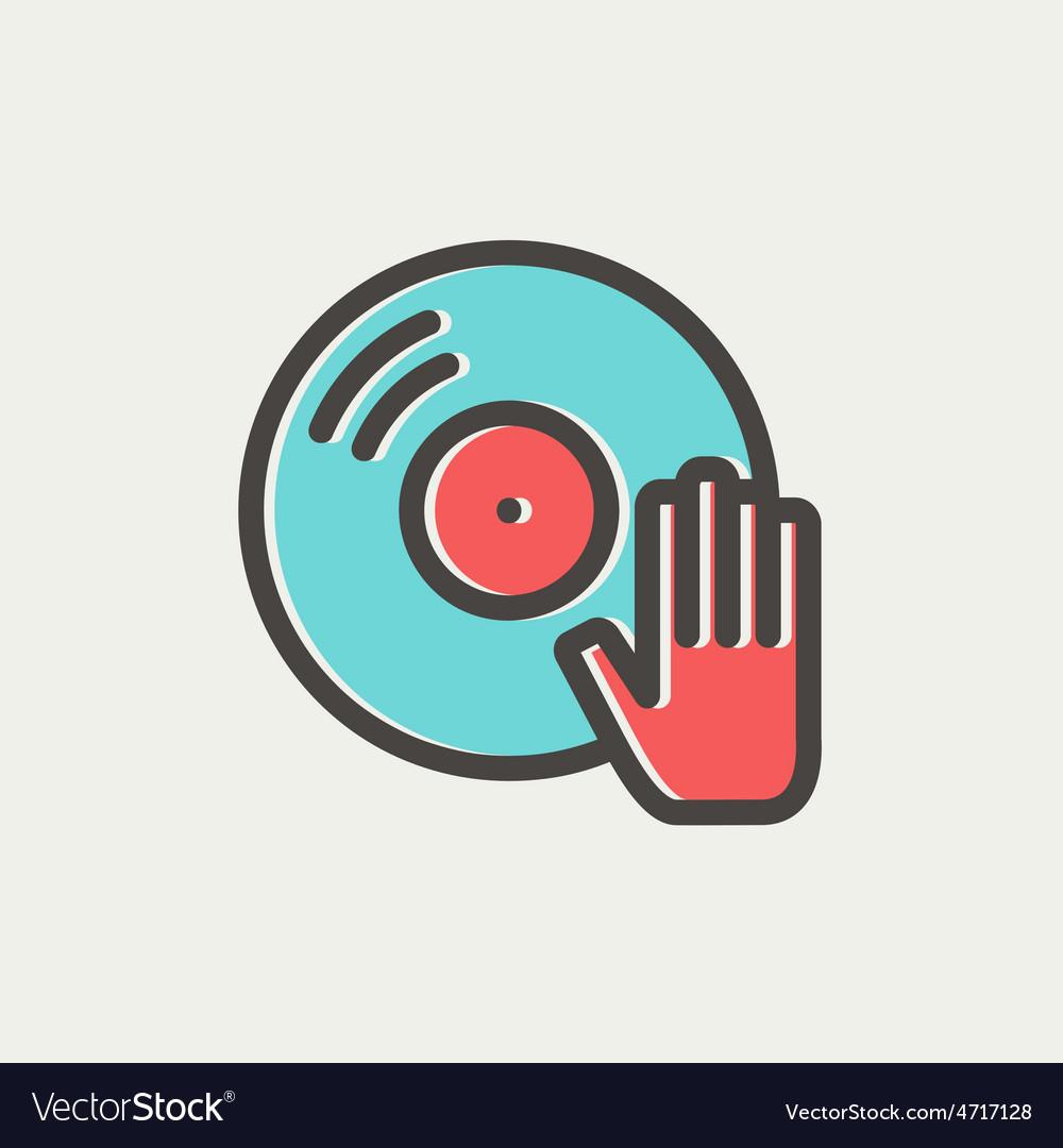 Vinyl disc thin line icon vector | Price: 1 Credit (USD $1)
